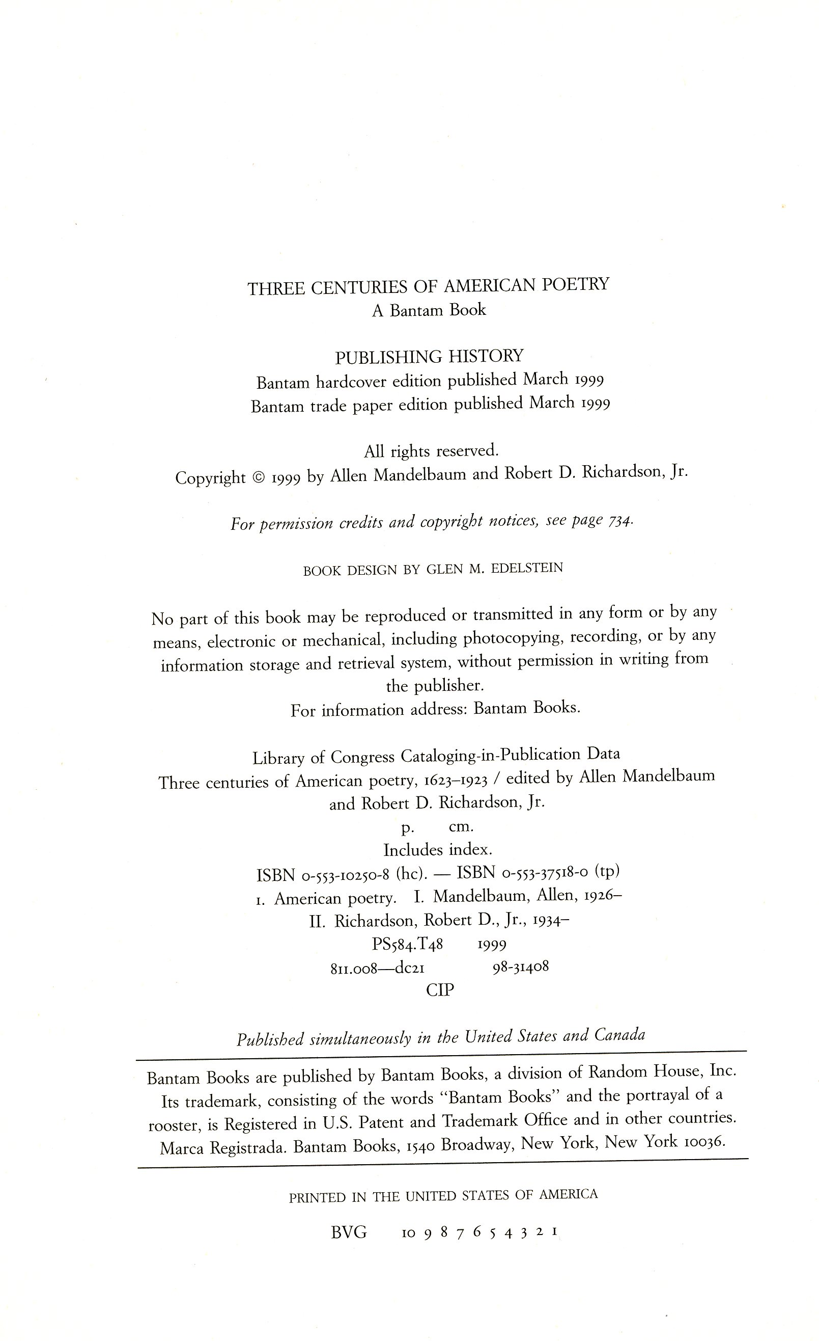 e5a071809 Three Centuries of American Poetry 1620-1923 (1999) | COVERS, TITLES ...