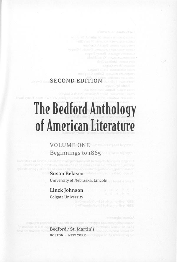 The Bedford Anthology cover page