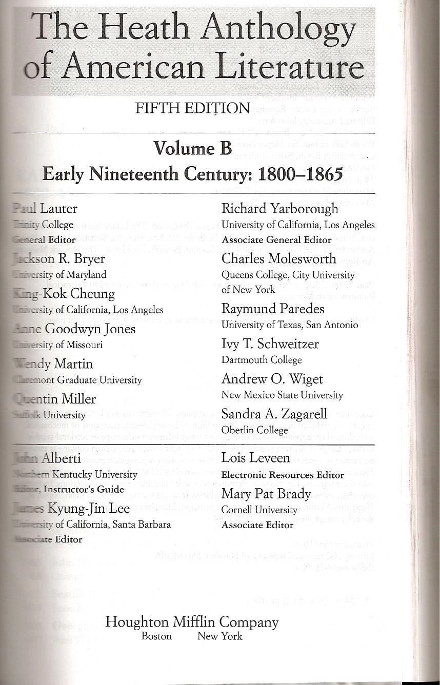 The Heath Anthology of American Literature, Vol  B (2006