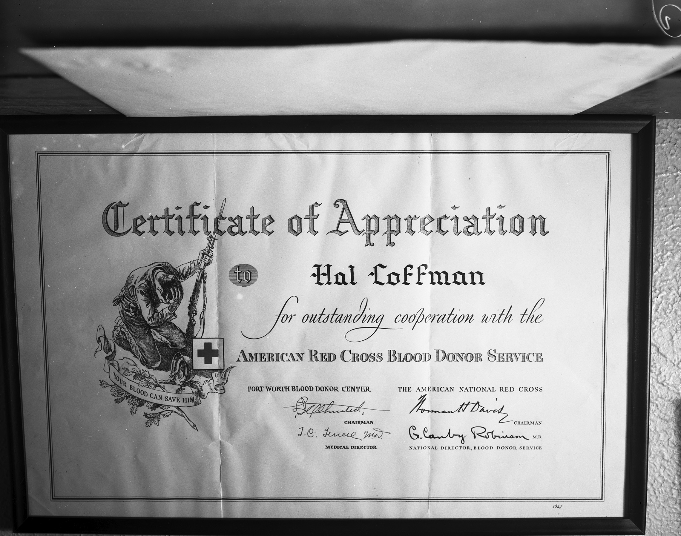 Red Cross Blood Donor Certificate Presented To Hal Coffman Digital