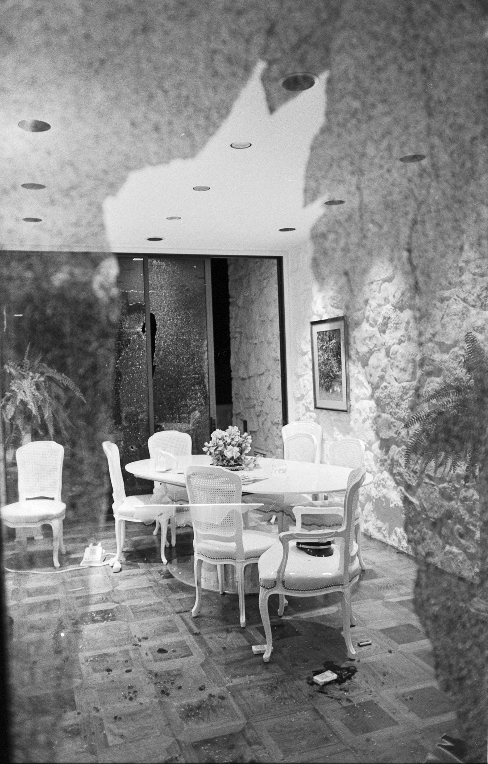 Broken Window In Dining Room Of Davis Mansion Uta Libraries Digital Gallery