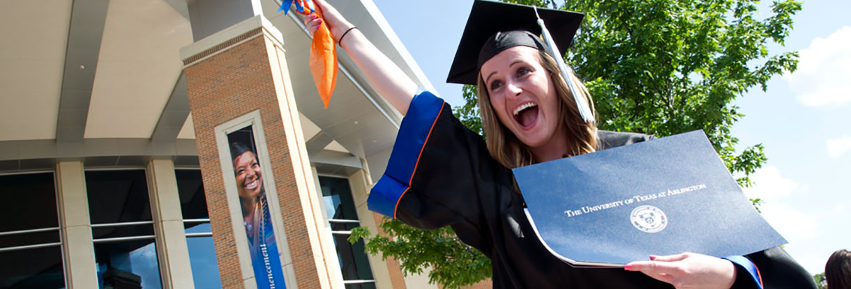 College of Education graduate in cap and gown
