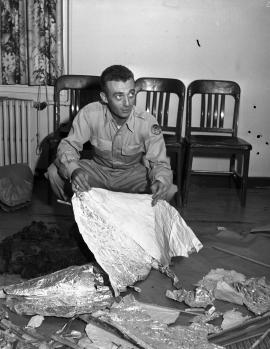 Major Marcel with Roswell debris