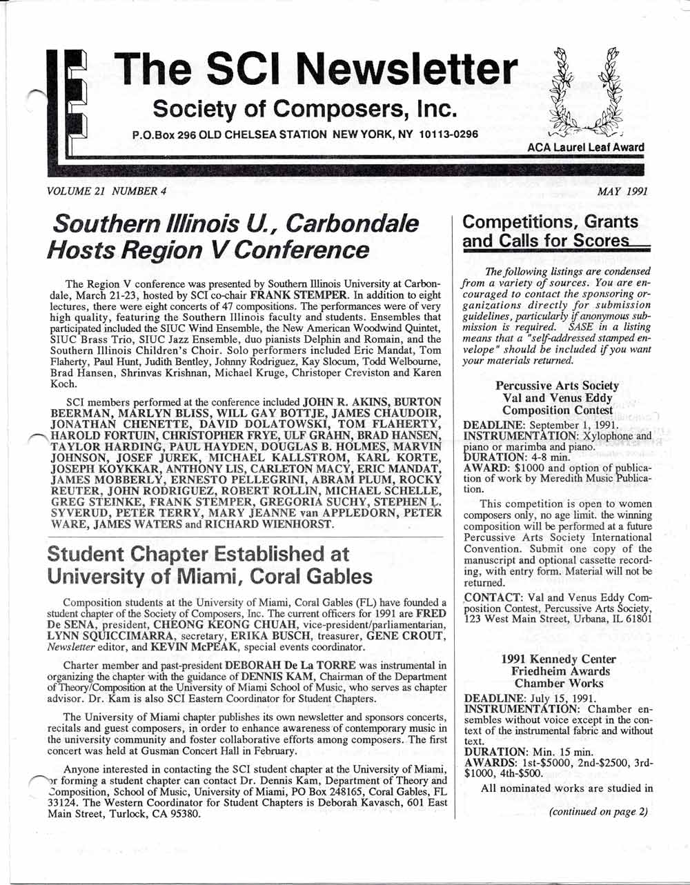 The Society of Composers, Inc  Newsletter | SCI Archive