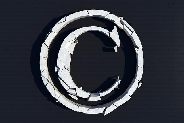 3D broken copyright symbol