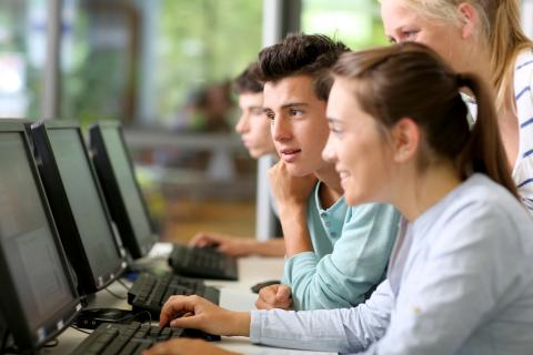 Young adults work collaboratively on computers