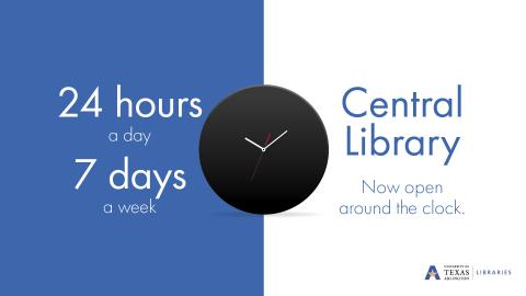 """Central Library now open around the clock. 24 hours a day 7 days a week"""
