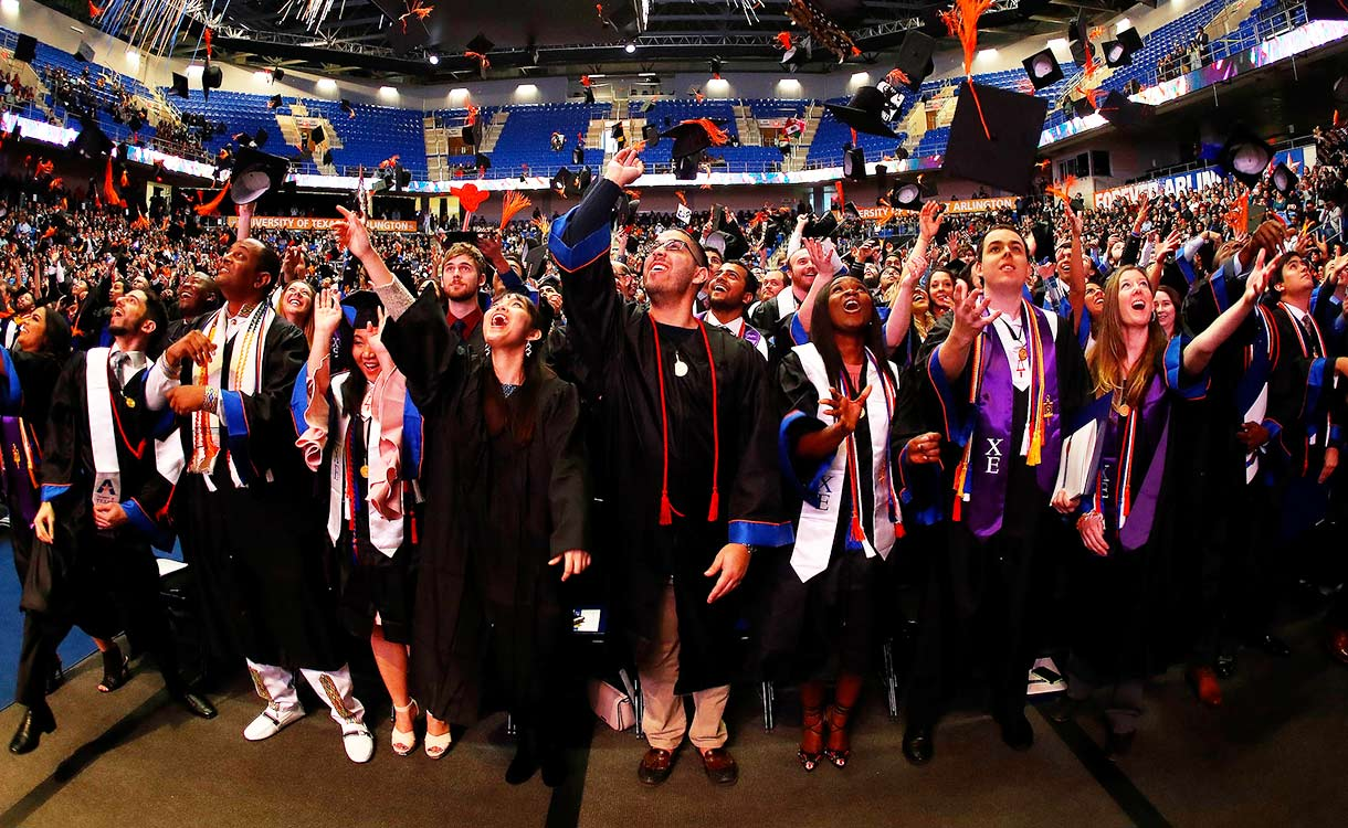 group of graduates at commencement ceremony