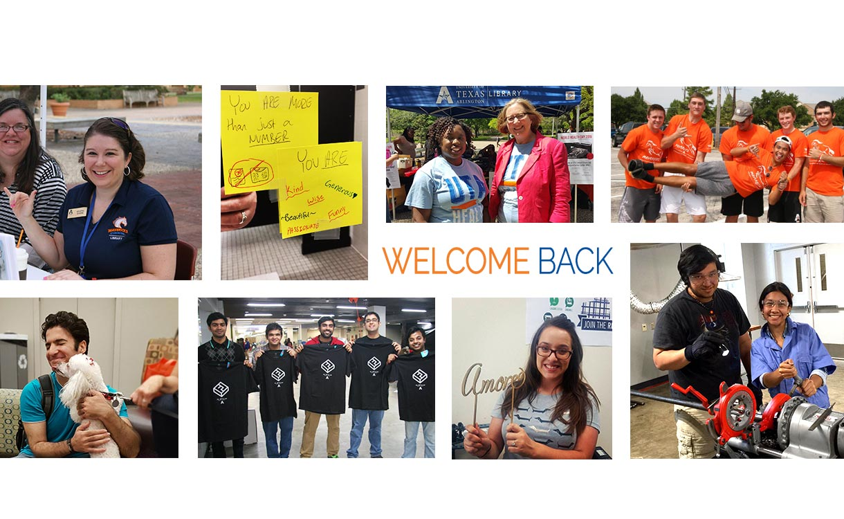 Welcome Back photos of students and staff in and around the Libraries