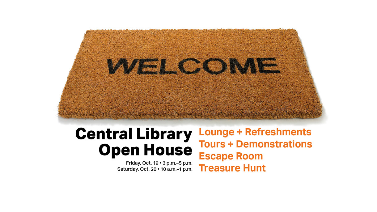 welcome mat for Central Library open house