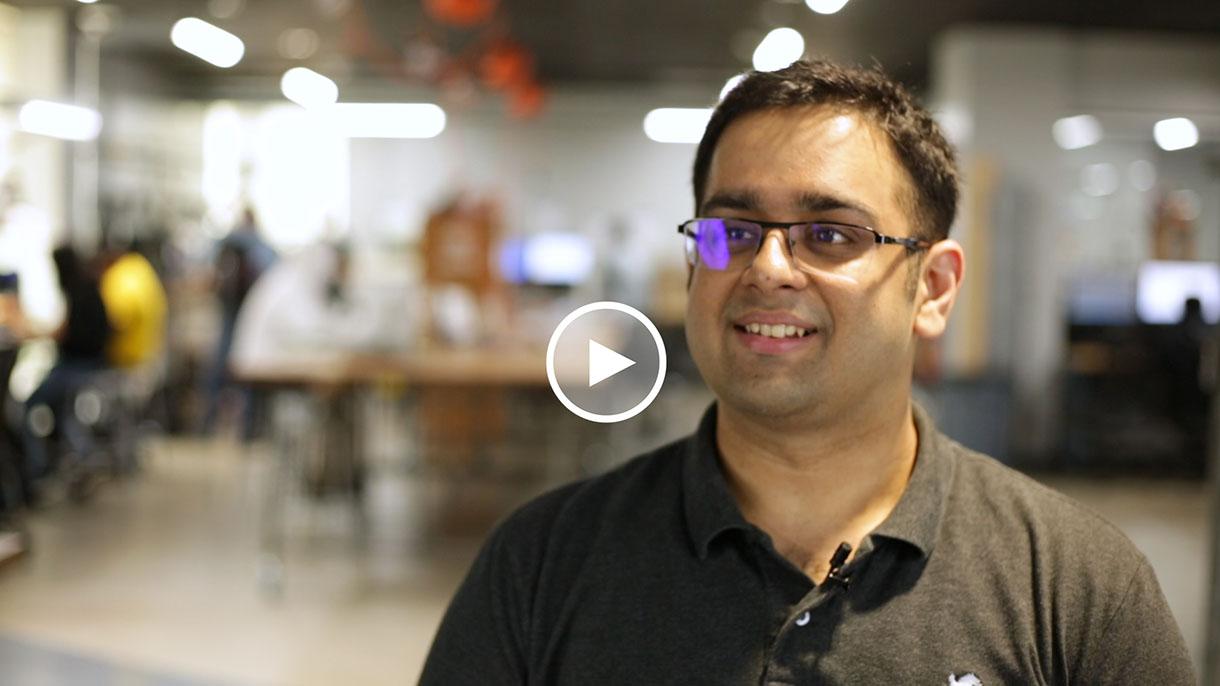 Tushar Saini in the FabLab discussing the FabApp