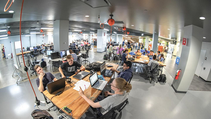 wide angle view of UTA FabLab
