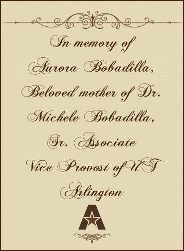 In memory of Aurora Bobadilla