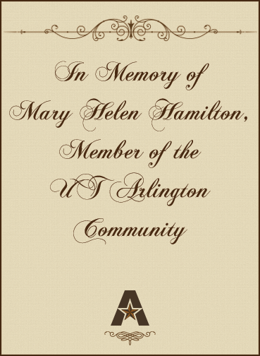 In memory of Mary Helen Hamilton