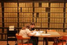 researchers using historical manuscripts