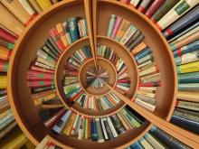 Books on a spiral shelf