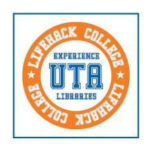 LifeHack College - UTA (circular orange, blue and white medallian)