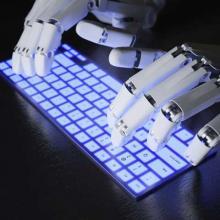 robot on keyboard