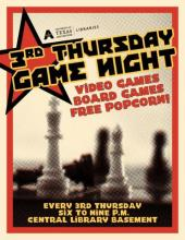 Poster for Third Thursday game night at the Central Library