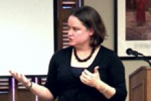 Architecture historian and associate professor Kathryn Holliday presenting at Focus on Faculty.