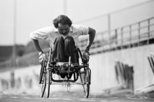 Jim Hayes, founder and longtime coach of the UTA Movin' Mavs wheelchair basketball team, training for a charity event in 1986.
