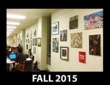 Fall 2015 display of MavsArt, featuring UTA students, faculty, and staff