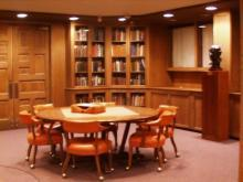 table and bookshelves in Special Collections