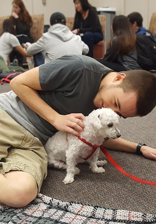 Student and dog at Tail Waggin' Wednesday
