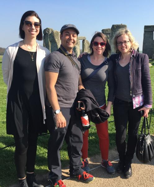 Nicole Allen, Rajiv Jhangiani, Michelle Reed, and Beck Pitt (OpenCon16) took an alumni road trip to Stonehenge after OER17 in London, UK.