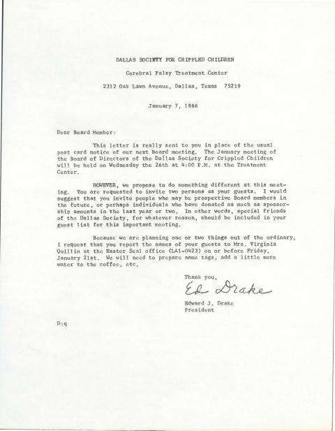 [Letter to Board Members about the Jan 26th, 1966 Board ...