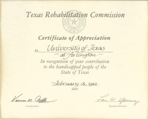 Certificate Of Appreciation | Certificate Of Appreciation Texas Disability History Collection