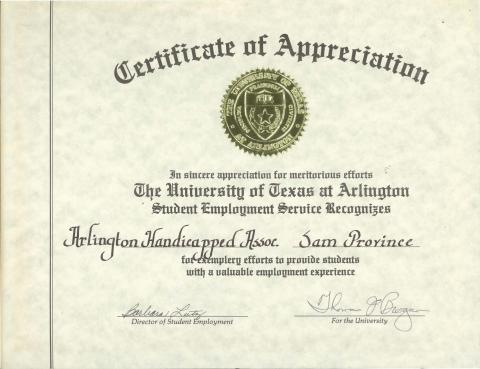 Certificate of Appreciation to Sam Provence (misspelled Province on ...