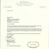 Letter from Bob Bullock, Texas Lieutenant Governor, thanking Jim Hayes