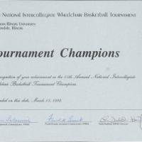 15th National Intercollegiate Wheelchair Basketball Tournament Certificate