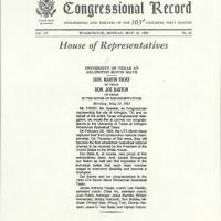 Congressional Record entry recognizing the Movin' Mav's third consecutive national championship