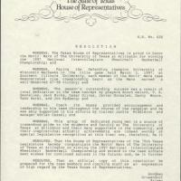 Resolution H.R. No. 626 honoring the Movin' Mavs on their 1997 national championship