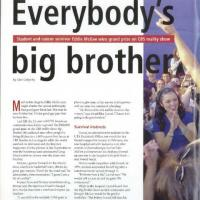 magazine article recounting Eddie McGee's winning season on the television show Big Brother