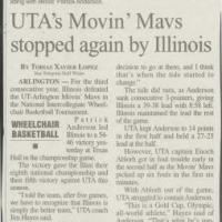 Newspaper article recapping the UTA Movin' Mavs loss to the University of Illinois