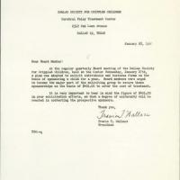 Letter to the board members of the Dallas Society for Crippled Children