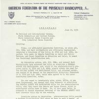 typed letter on stationery of the American Federation of the Physically Handicapped