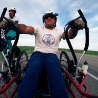 Rob Bryant RowCycles and brother, Steve, bicycles on US 180 in West Texas