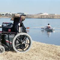 Nathan Ramsey, a paraplegic, rows in a specially designed boat