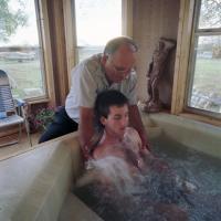 Todd Whitehead in whirlpool bath