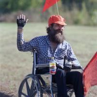 Handicapped Mike Middleton acts as lunchtime crossing guard