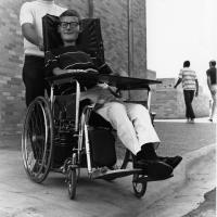 Sam Provence in his wheelchair