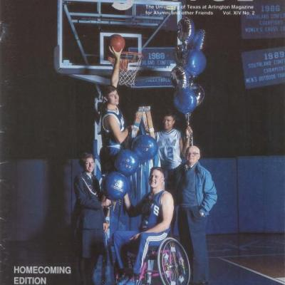 cover of UT Arlington alumni magazine showing group of athletes, one in a wheelchair