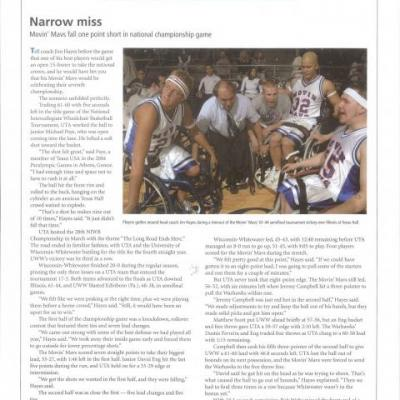 UTA Magazine article recapping the 29th National Intercollegiate Wheelchair Basketball Tournament