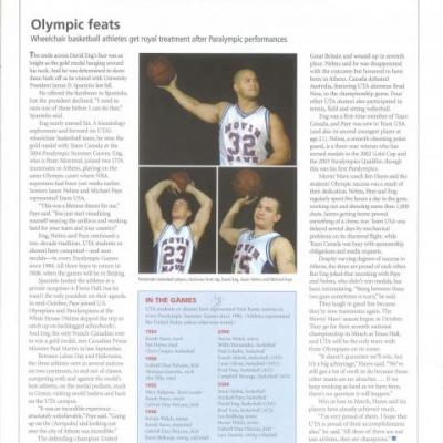 UTA Magazine article describing Movin' Mavs during and after the 2004 Paralympic Games held in Athens, Greece