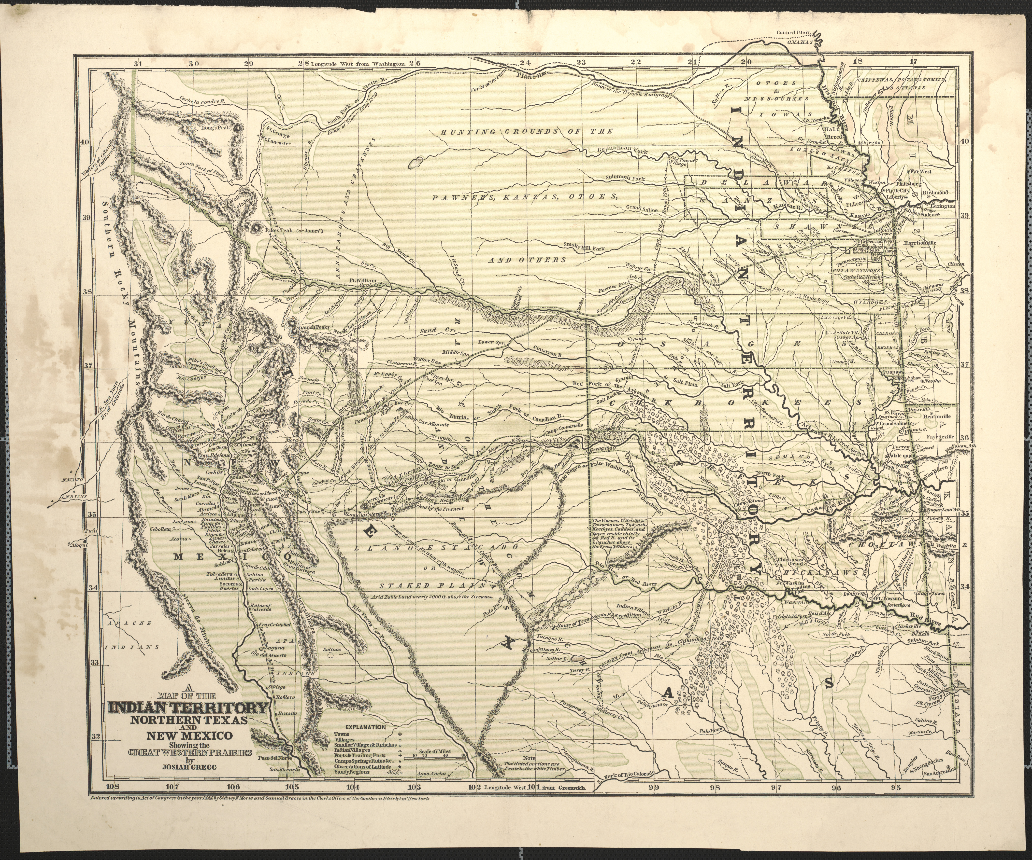 A Map Of The Indian Territory Northern Texas And New Mexico Showing The Great Western Prairies